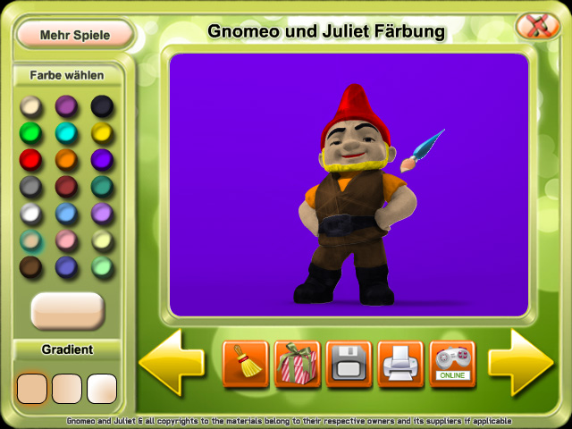 Gnomeo and Juliet Coloring game