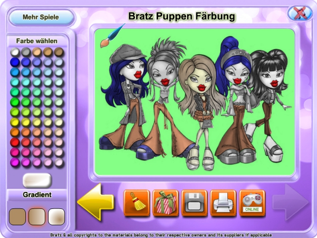 Kostenloser Download Bratz Puppen Färbung Screenshot 2